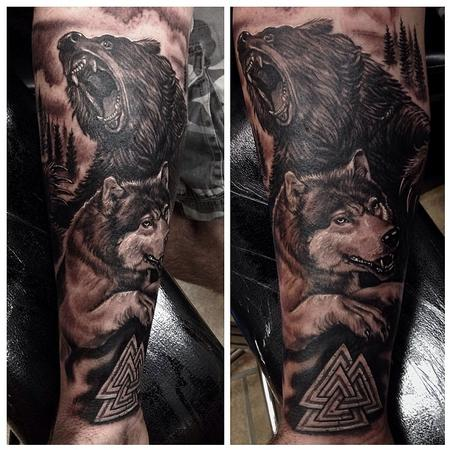 Tattoos - Start to a black and gray viking sleeve - 91133