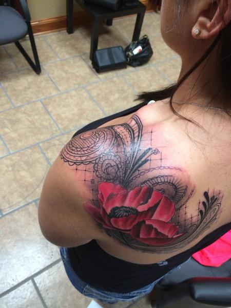 Tattoos - Lace design with a poppy - 85800