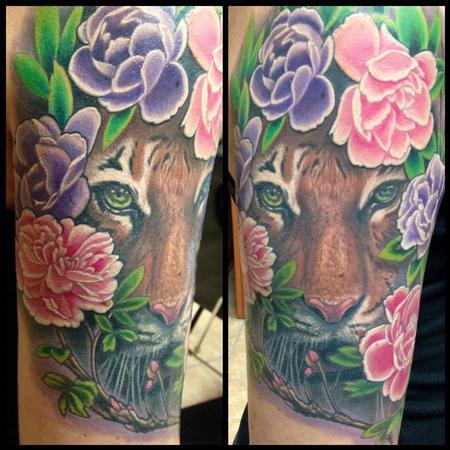 Tattoos - Finished Tiger/Flower Half Sleeve - 95203