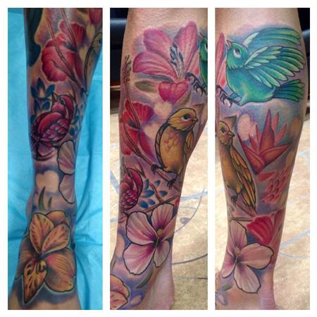 Tattoos - Colorful Bob Marley Tribute Lower Leg Piece - 95526