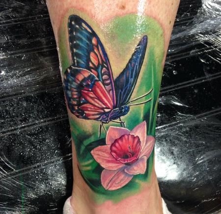 Tattoos - Butterly & Flower on Ankle  - 95836
