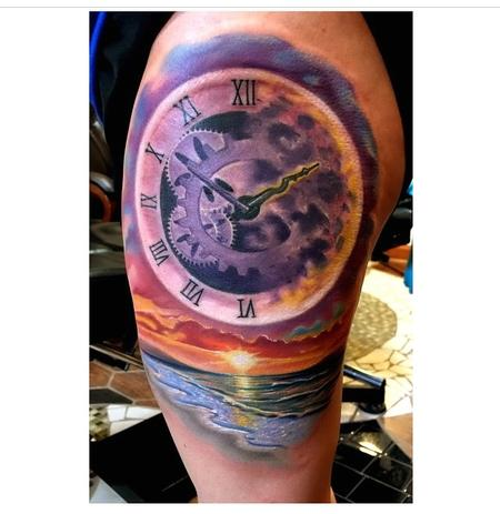 Tattoos - Custom Clock/Sunset/Beach Scene - 97613