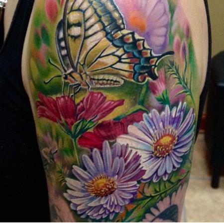 Tattoos - Butterfly/Flower Half Sleeve In Progress - 100524