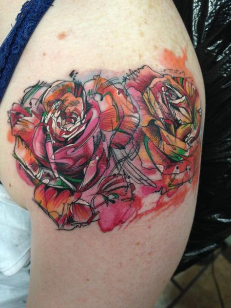 Tattoos - Custom Watercolor Roses  - 101472