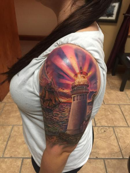 Tattoos - Lighthouse/Ship/Sunset  - 111236