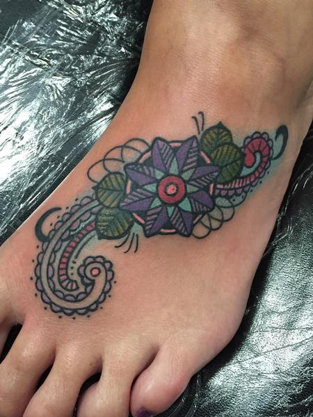 Tattoos - Flower on Foot  - 119242