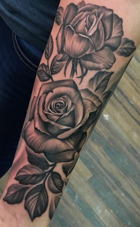 Tattoos - Black & Grey Roses  - 127248