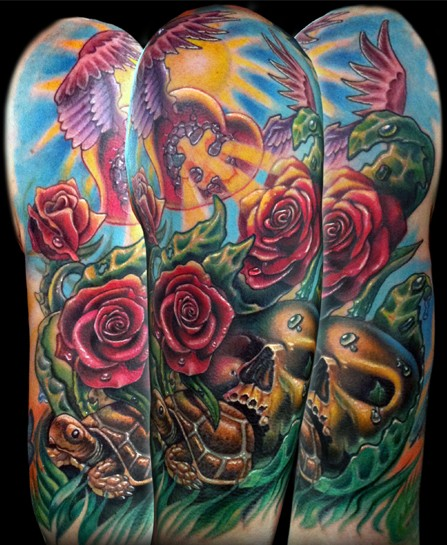 Tattoos - turtle,skull,rose heart/wings thing - 51802