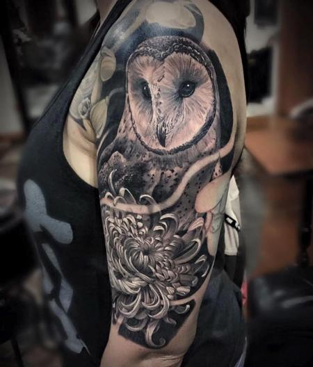 Tattoos - Owl & Chrysanthemum  - 113837