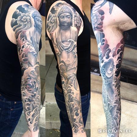 Tattoos - Buddha and koi fish Sleeve - 143380