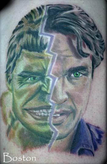 Tattoos - Hulk and Bruce Banner color portrait tattoo - 70148
