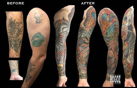 Boston Rogoz - Phoenix sleeve cover-up tattoo