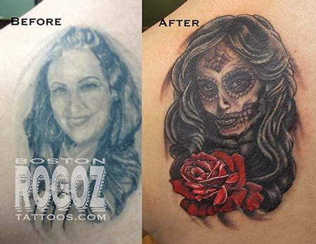 Tattoos - Ex-wife portrait cover-up tattoo - 95057