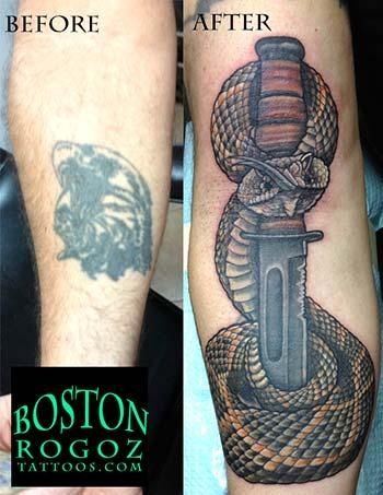 Tattoos - Rattlesnake and Kabar color USMC tattoo cover-up - 84409