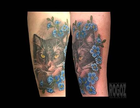 Tattoos - Cat with flowers - 139464