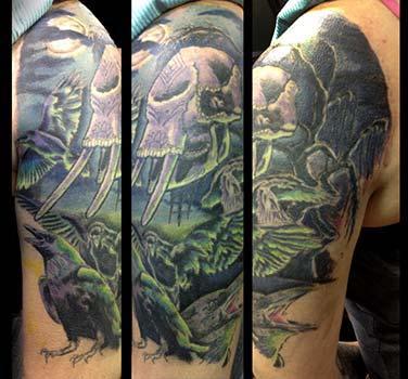 Tattoos - Elephant sugar skull and ravens - 79822