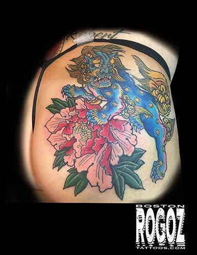 Tattoos - Blue Foodog and peony - 130625