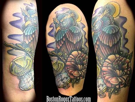 Tattoos - Owl_Rose_and_pocketwatch_color_tattoo - 75806