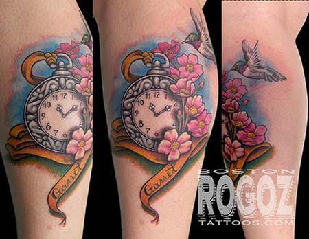 Tattoos - Pocket watch and cherry blossoms tattoo - 94374