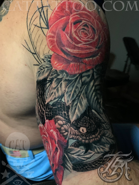 Tattoos - Progress shot 2 of a snake and rose color half sleeve - 142788