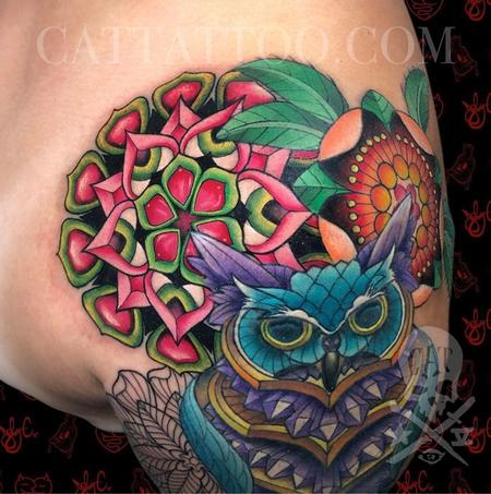 Tattoos - Floral Geometry and Crystal Owl - 143372