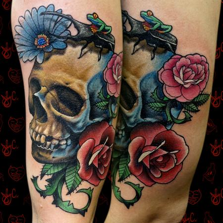 Tattoos - Skull and Flowers - 125290