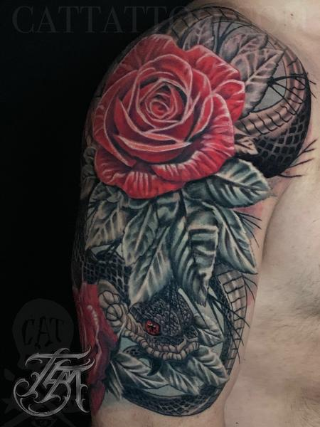 Tattoos - Snake and Roses Half Sleeve Front Image - 142805