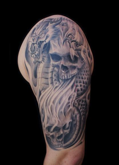 Tattoos - dragon with skulls - 54255