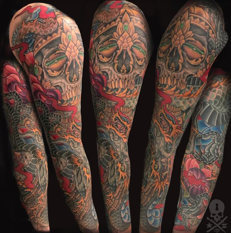 Tattoos - Skull & Dragon Sleeve - 132861