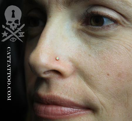 Brittany - Yellow Gold & White Opal Nostril