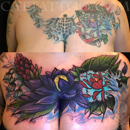 Tattoos - New School Flowers Cover Up - 140353