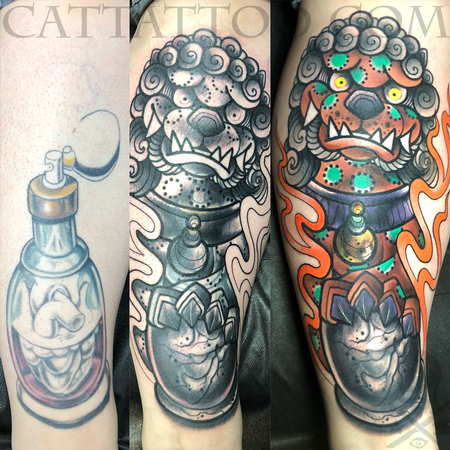 Tattoos - New School Foo Dog Coverup - 140357