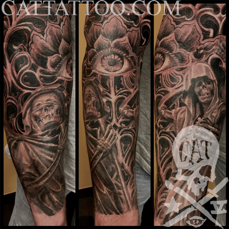 Terry Mayo - Black and Grey Reaper Tattoo