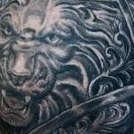 Prints-For-Sale - Black and Grey Lion Armor Tattoo - 139123