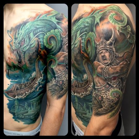 Tattoos - Vikins Ship & Sea Serpent - 122397
