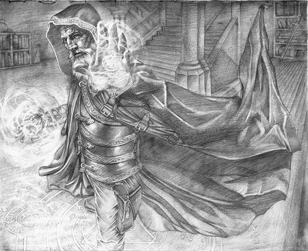 Tattoos - Alchemic Mastery, fantasy card art final pencils  by Cecil Porter