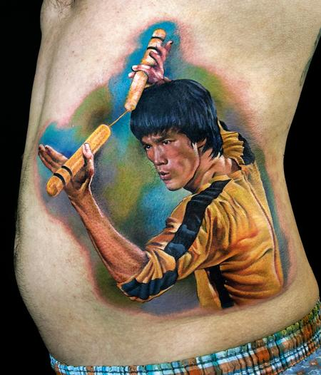Tattoos - Bruce Lee color portrait tattoo - 139152