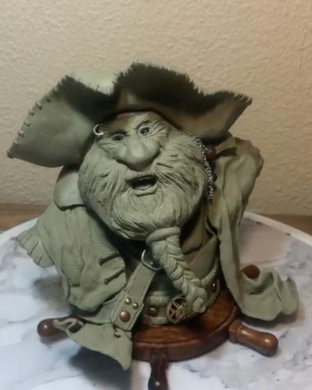 Tattoos - Mad Beard, Pirate sculpture.