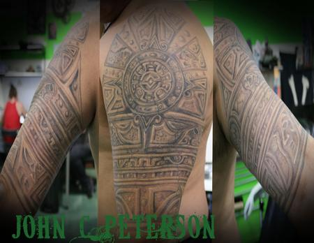 Tattoos - Aztec_Stone_half_sleeve_John_C_Peterson - 128319