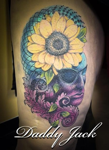 Tattoos - Sunflower and Face Memorial Tattoo - 137237