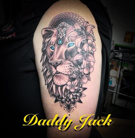 Tattoos - Lion with floral/geometric background - 134912