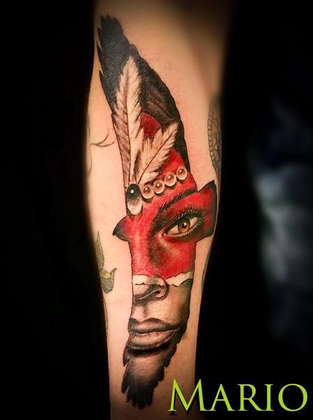 Tattoos - Native American Woman in Hawk - 137244