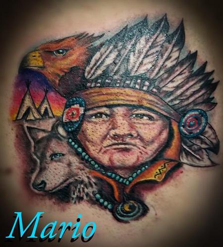 Tattoos - Native American Chief - 137248
