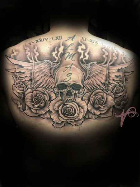 Tattoos - Skull Roses and Wings - 137890