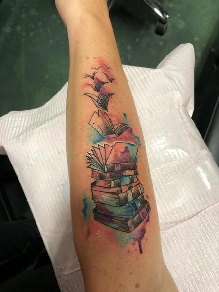 Tattoos - Watercolor Stack of Books - 139449