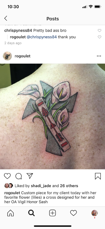 Ron Goulet - Cross w/Lilies and OA Vigil Honor Sash