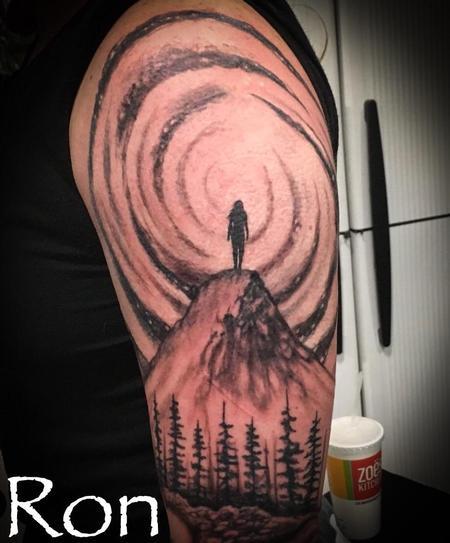 Tattoos - Girl on Mountain w/Galaxy - 139441