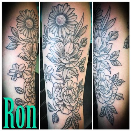 Tattoos - Black and Grey Floral - 138529