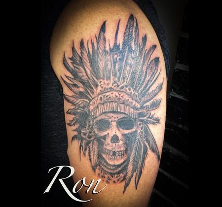 Tattoos - Native American Skull Chief - 139027