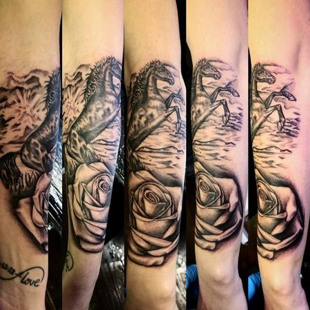Tattoos - Black and grey stallion and rose - 132516